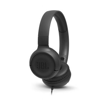 JBL Tune 500 Wired Headset Powerful Bass On-Ear Headphones with Mic (Black)